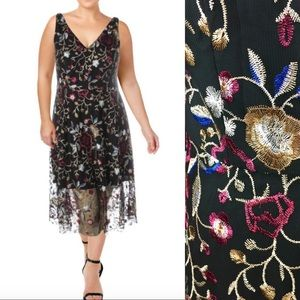 Vince Camuto Black Floral Embroidered Midi Dress